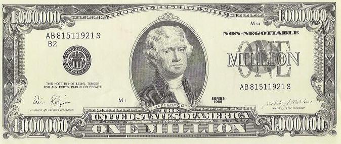 million zeros how many